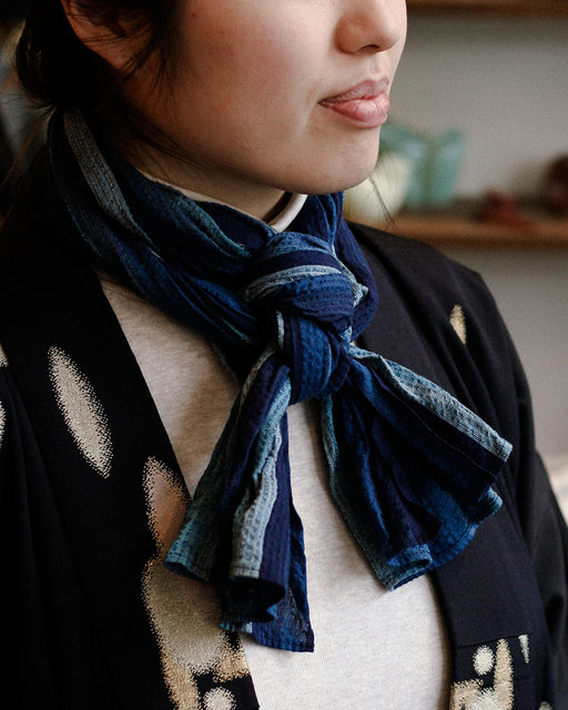Kiji Scarf With Shijira Weave Summer Scarf With Gradient Indigo