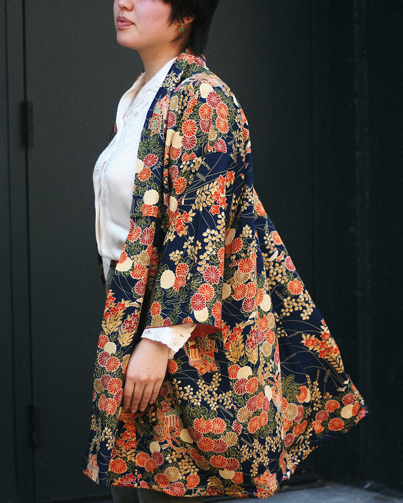 Modern Cut Kimono, Navy with Orange and Yellow Kiku and Carriage