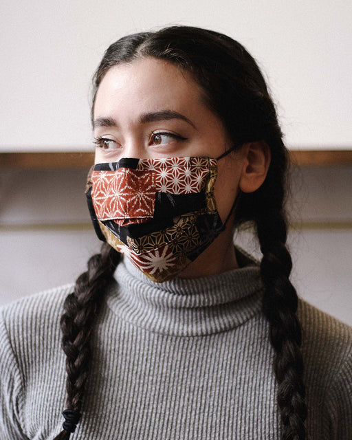 Face Mask, Burnt Orange and Golden Yellow Patchwork (Pleated Rectangular)