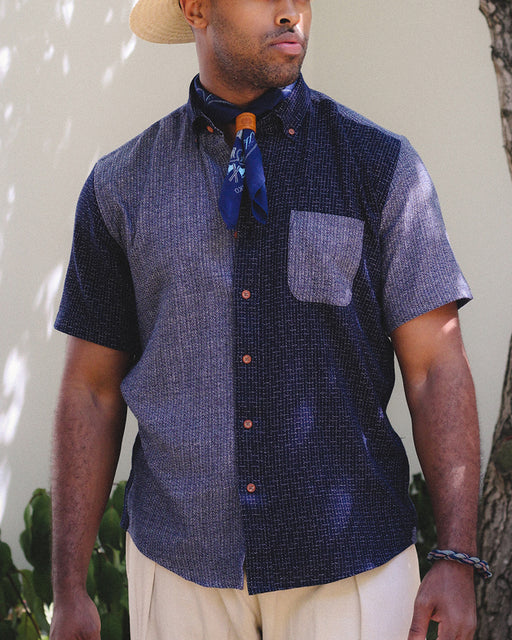 Button-Up Shirt, Nashiji-Ori & Shijira-Ori, Indigo Color Block