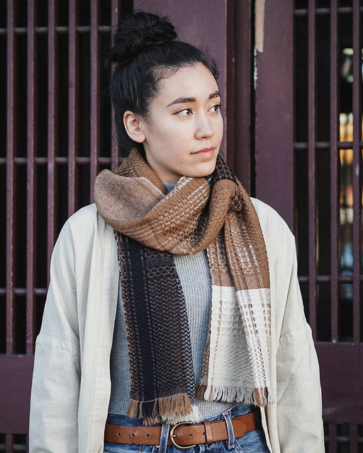 Kobo Oriza, Wool Muffler, Multi Weave, Beige and Navy