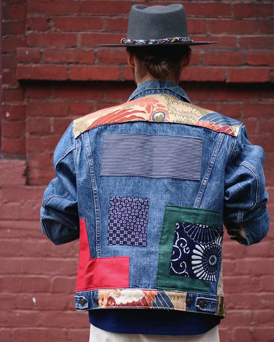One of a Kind Boro Patched Vintage Levis Jacket, Plaid and Obi
