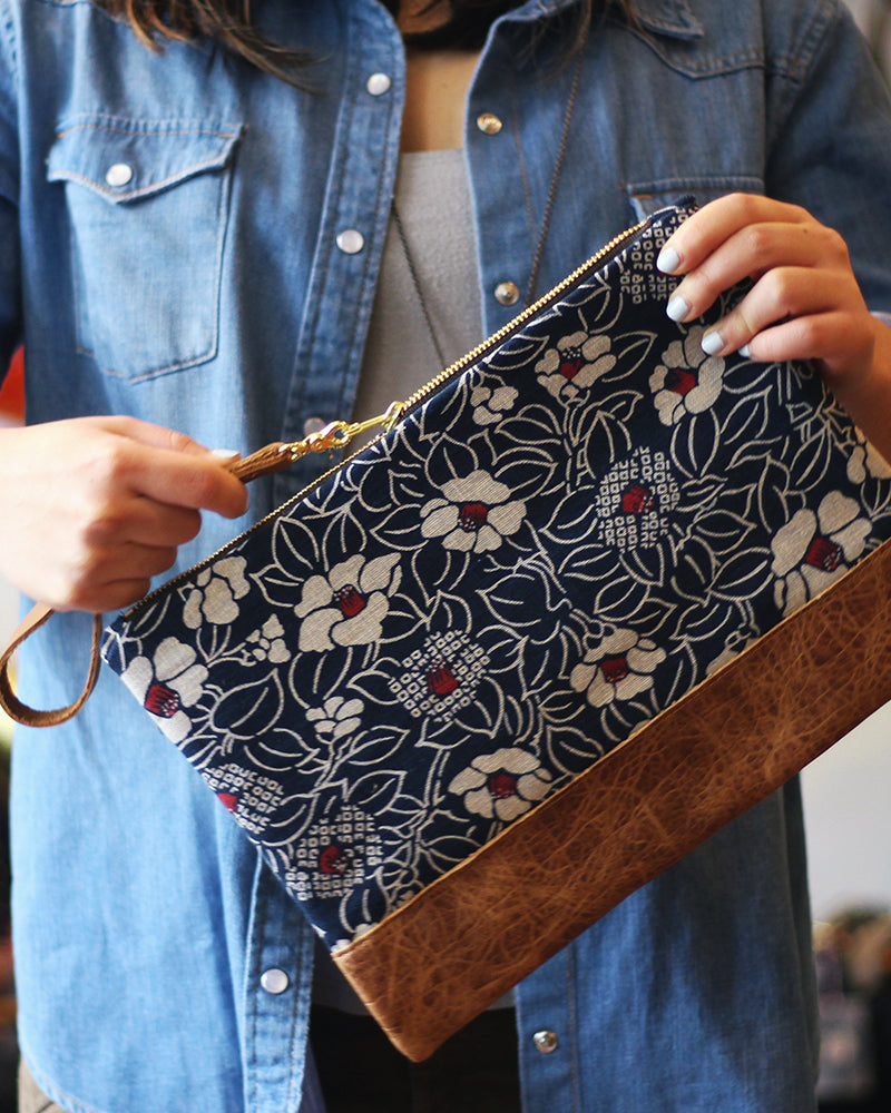 Tsubaki Leather Clutch, Indigo