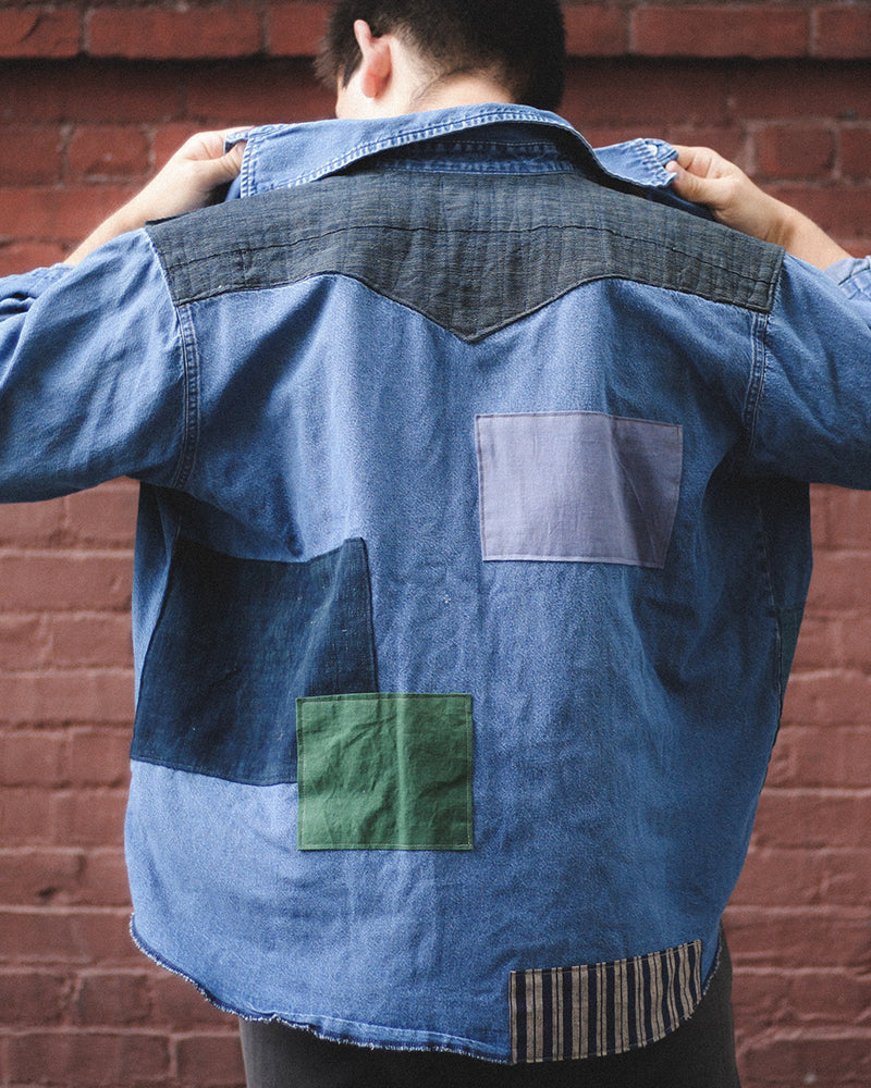 Vintage Patchwork Button-Up Shirt, Blue, Green & Shima
