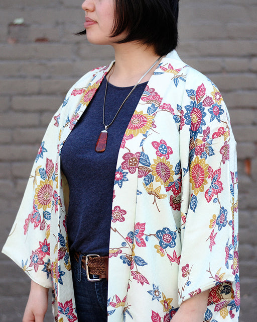 Vintage Haori Jacket, Seafoam green with Kiku