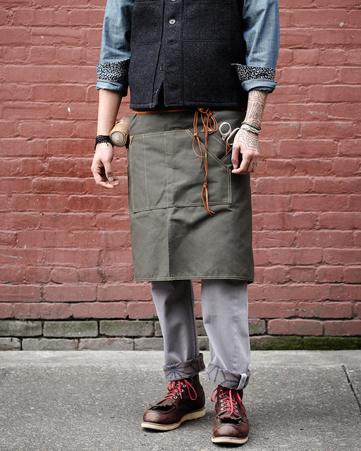 Canvas Waist Work Apron, Military Green