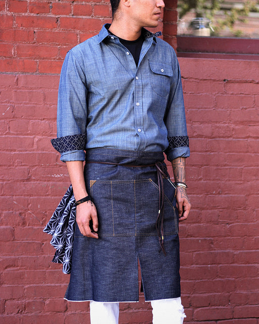 Japanese Slevedge Denim Waist Work Apron, Indigo