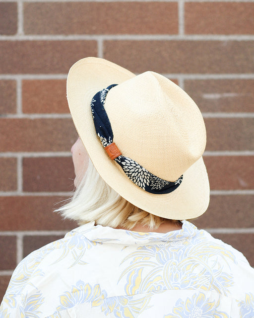 Tan Panama Hat, Indigo Katazome Kiku, Twisted Band