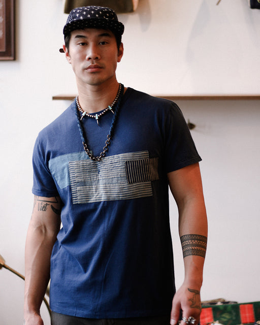 Patched Boro Tee, Blue, with Shima