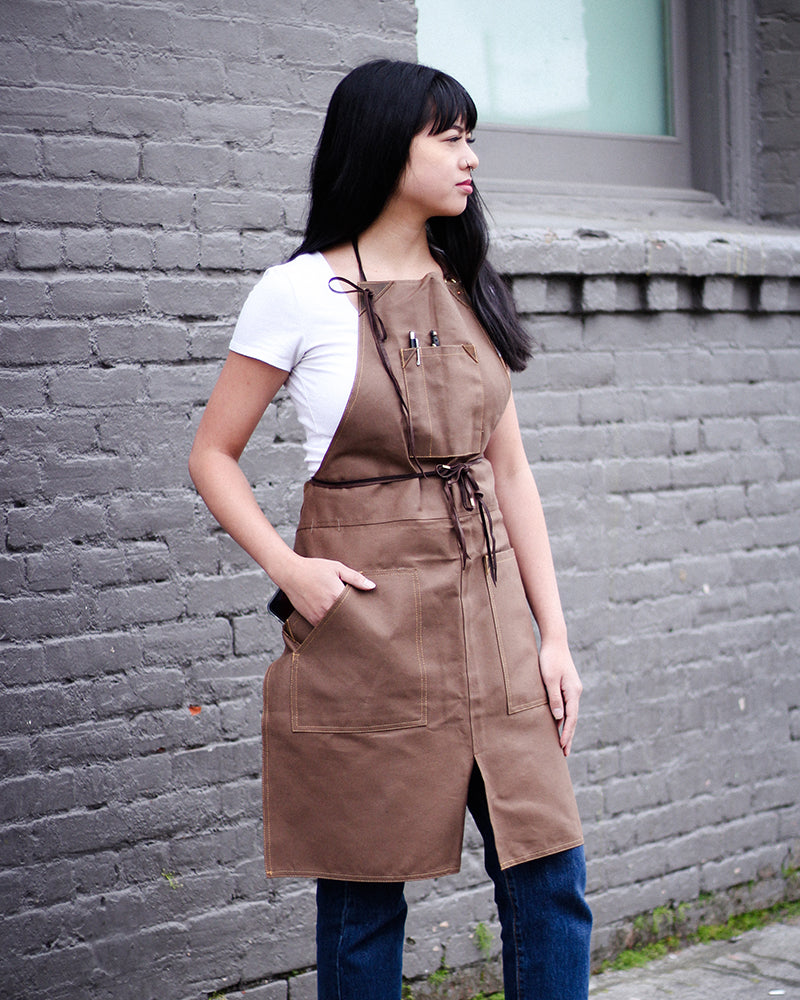 Canvas Work Apron, Brown