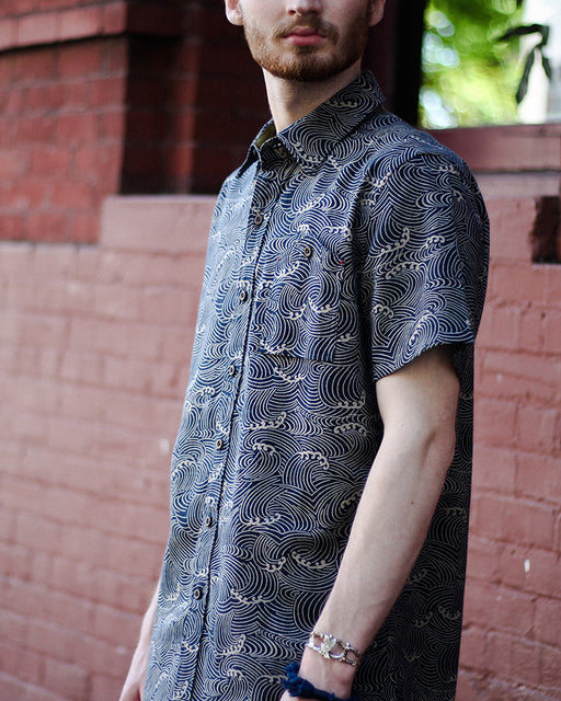 Button-Up Shirt Short Sleeve Indigo Nami