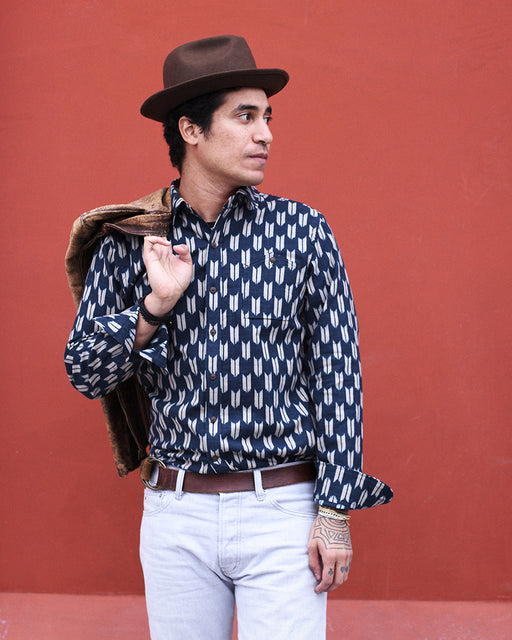 Button-Up Shirt Indigo Yagasuri