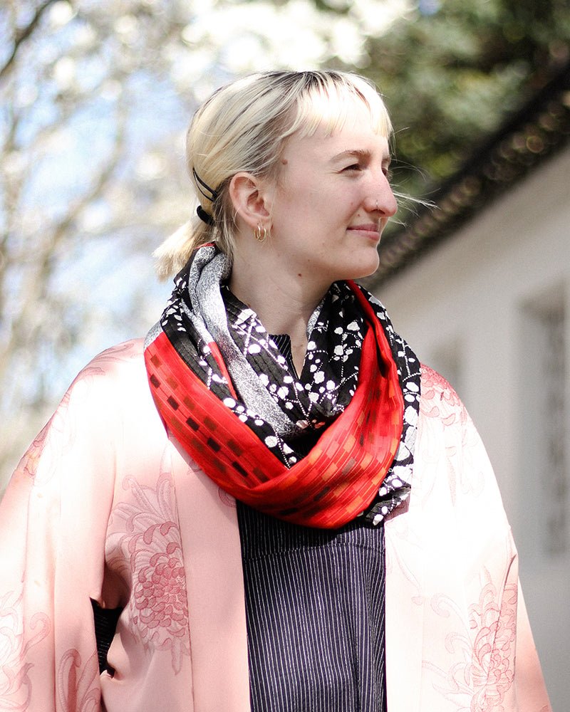 Kimono, Red, Black and White with Floral Patterns and Kasuri, Infinity Scarf