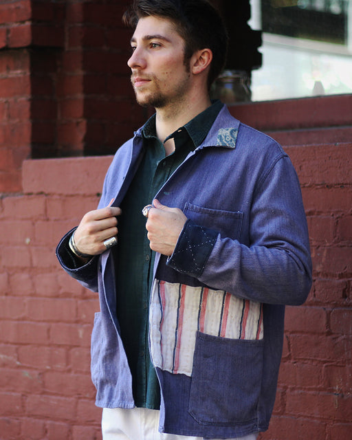 One of a Kind Boro Patched Vintage French Workman Jacket 11 (L)