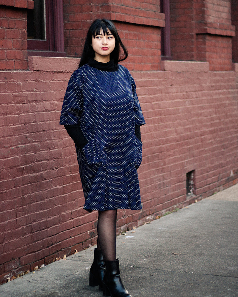 Oversized A-Line Pocket Dress, Indigo Small Dots