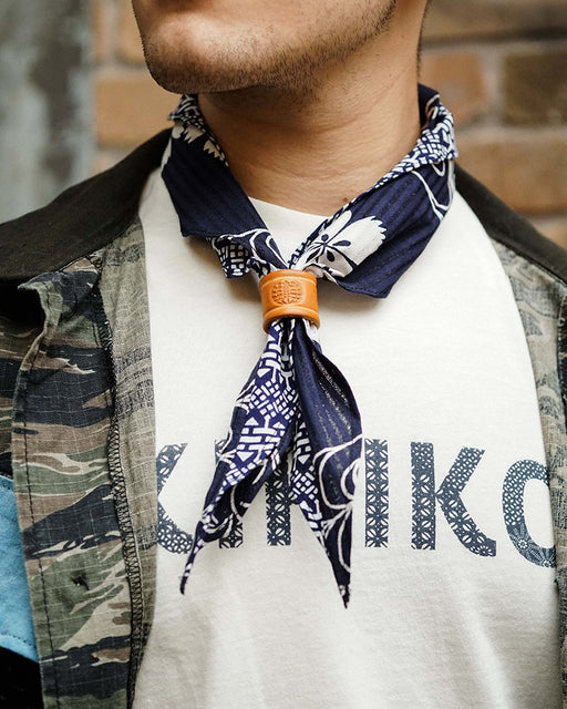 Split Neckerchief, Indigo Katabami & Geometric Pattern
