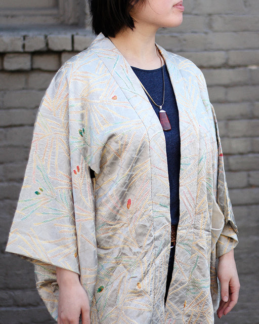 Vintage Shibori Haori Jacket, Silver and Orange