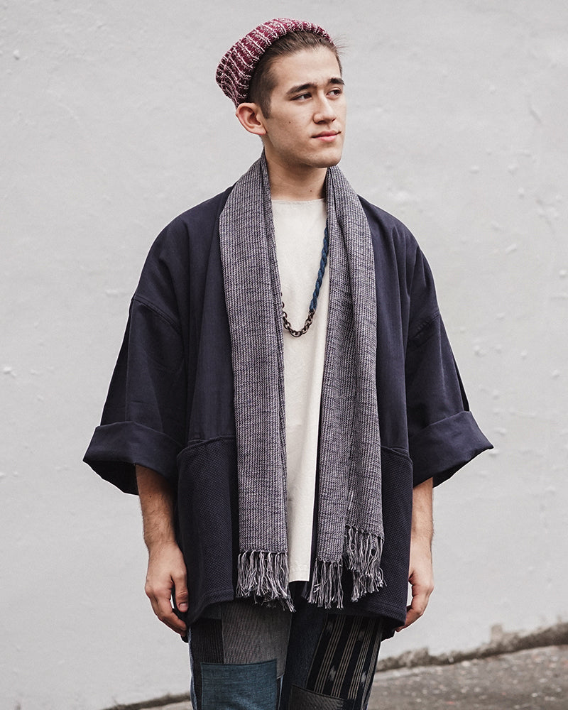 Kobo Oriza, Slub Scarf, Indigo and Grey
