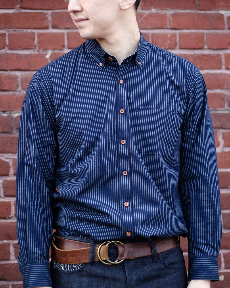 Long Sleeve Button-Up Blue Shima