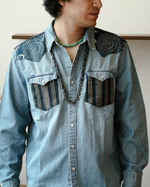 Customized/Patched Leviʻs Denim Button Up, Katazome, Kasuri and Shima
