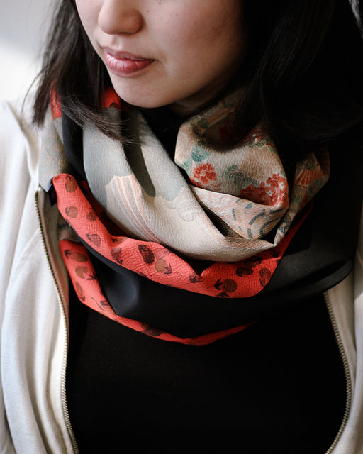 Kimono, Abstract Floral Pattern with Nasubi , Silk Infinity Scarf
