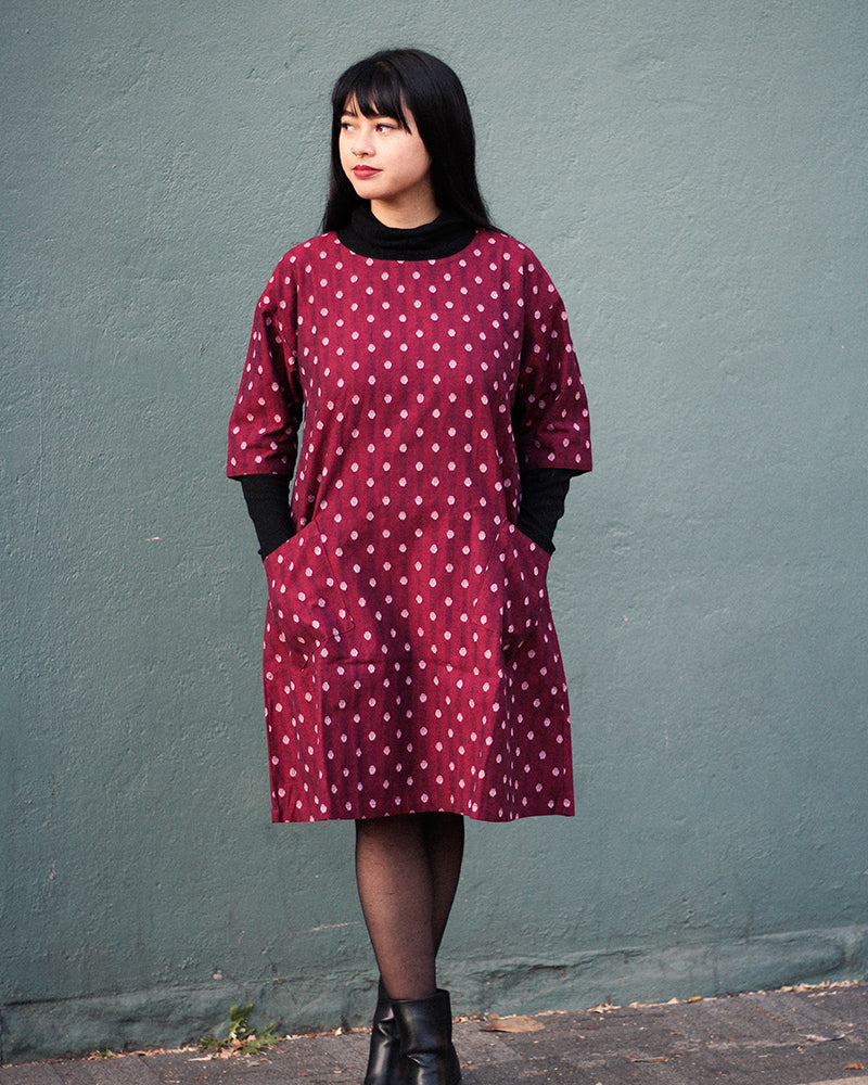Oversized A-Line Pocket Dress, Red Polka Dots