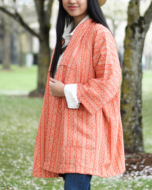 Altered Kimono, Bright Orange with Floral Shima