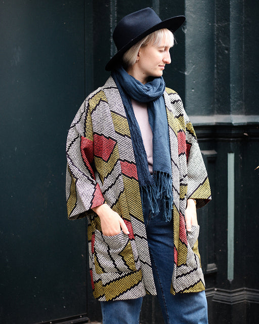 Modern Cut Shibori Haori Jacket, Olive, Red, Black and White Abstract Pattern
