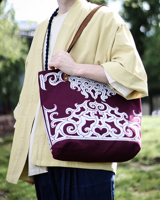 Ainu Canvas Tote, Burgundy