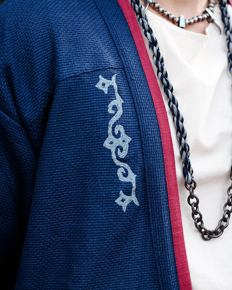 Modern Noragi Jacket, Blue with Red Collar, Ainu