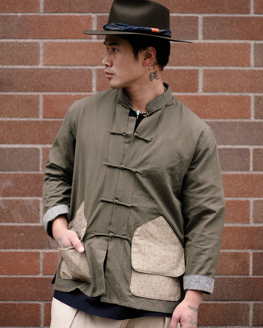 Mandarin Collar Jacket with Hunting Style Pocket, Green with Tan Asanoha