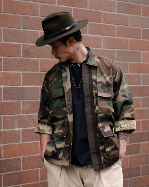 Camo Patched Military Jacket, with Maru-Obi