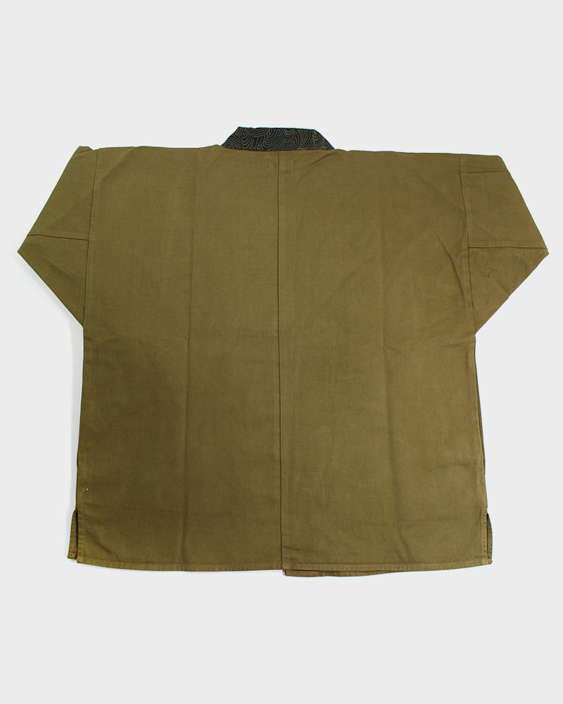 Modern Noragi Jacket, Heavyweight Brushed Twill, Olive Green with Nami