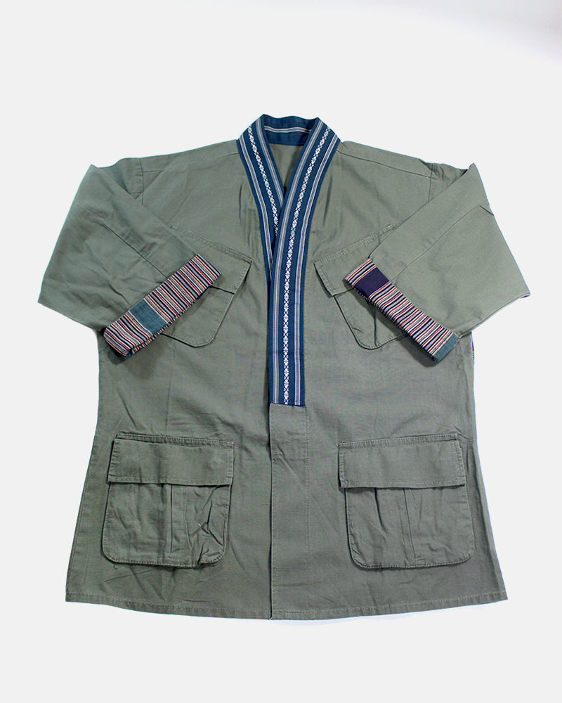 Green Patched Military Jacket, with Navy Obi Collar