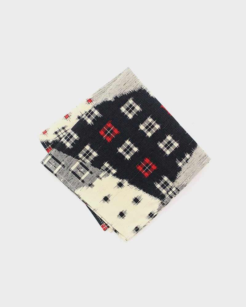 Pocket Square, Black, Cream and Red Kasuri