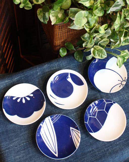 Small Plates, Set of 5, Abstract Blue Patterns