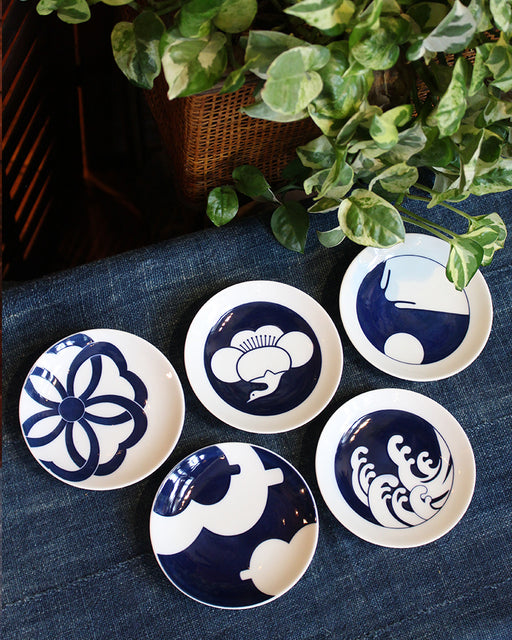 Small Dipping Plates, Set of 5, Japanese Abstract Symbols