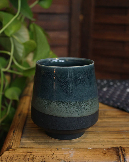 Kelly Pottery, Yunomi Dipped, Dark Indigo, Moss Green and Charcoal Grey