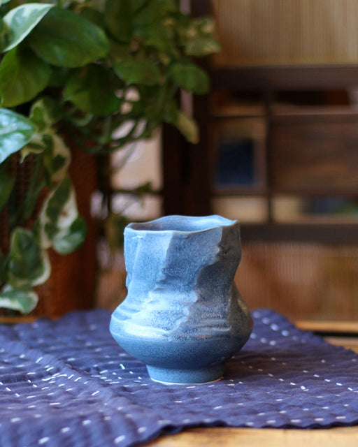 Kelly Pottery, Faceted Yunomi Steel Blue