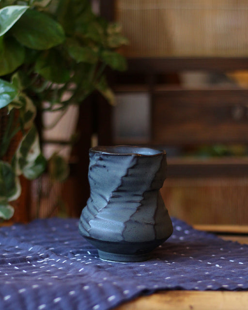 Kelly Pottery, Faceted Yunomi Dark Grey