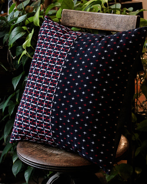 Split Pillow, Indigo Red & White Jyuji