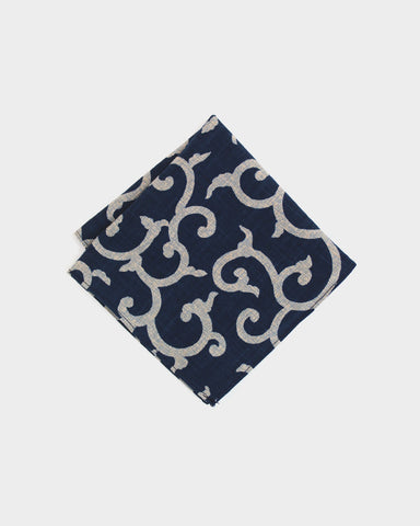 Pocket Square Indigo Karakusa