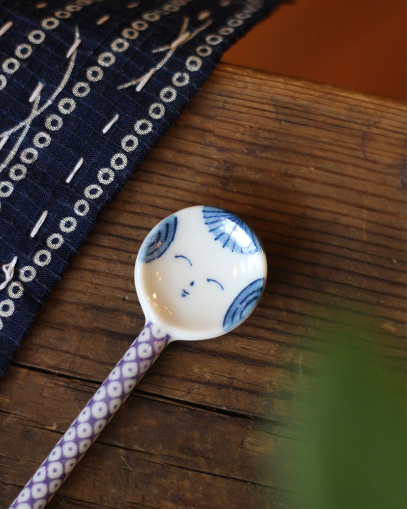 Mino-Yaki Hand-Painted Spoon, Kokeshi, Purple