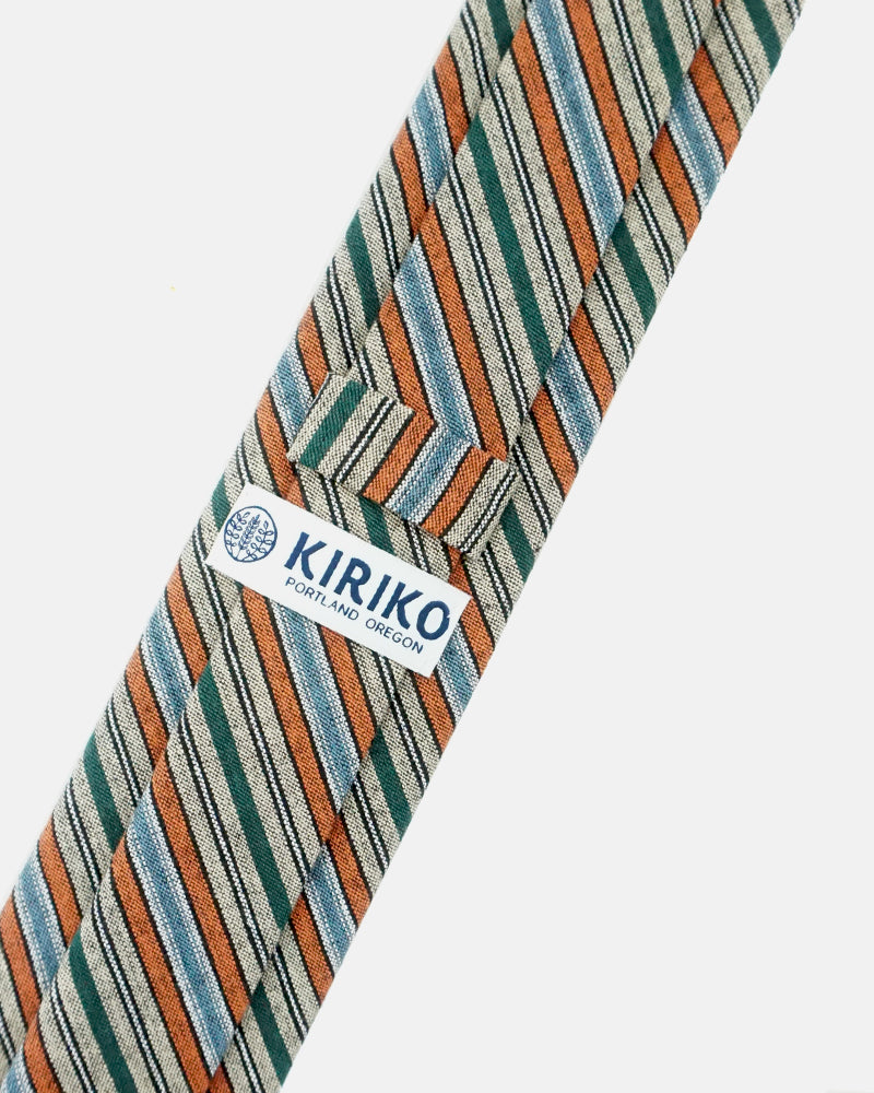 Tie, Orange and Green Woven Shima