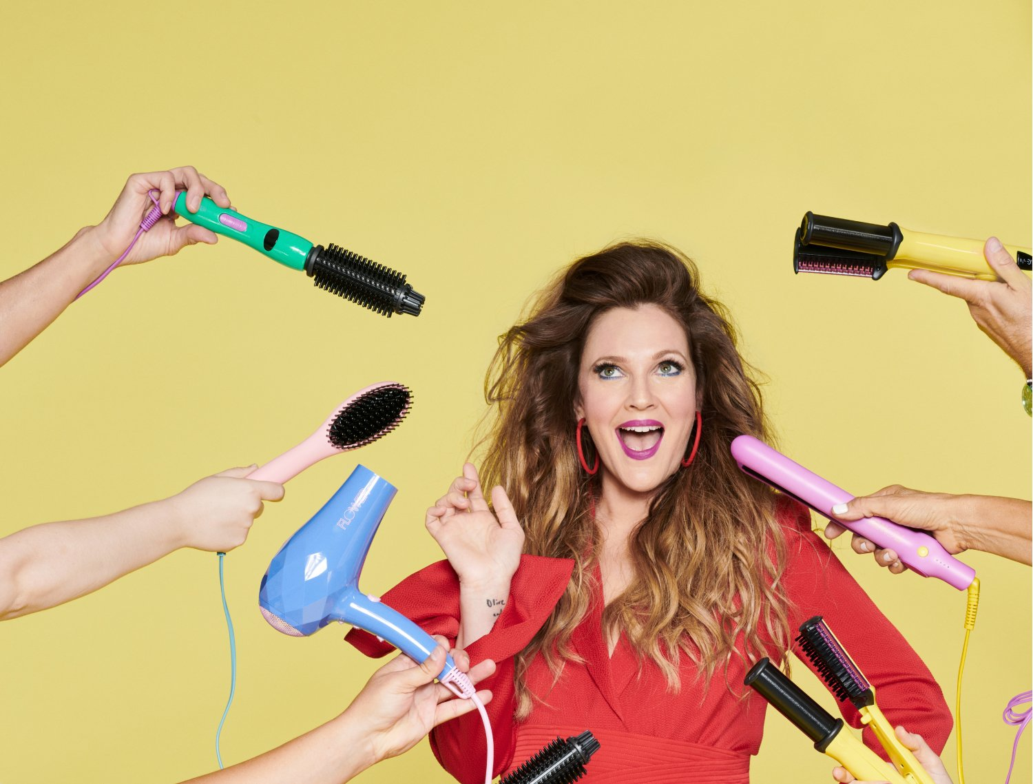 Drew Barrymore surrounded by Flower by Drew products