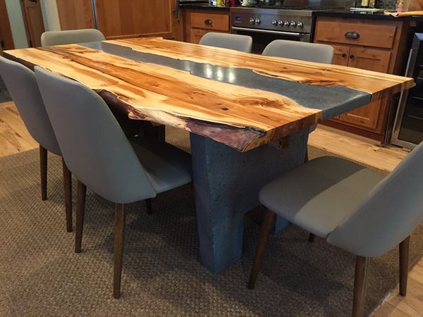 This Example Just Goes To Show How Effective Complementary And Contrasting  Textures Look Together. The Concrete And Wood Dining Table Was Made By  Using ...