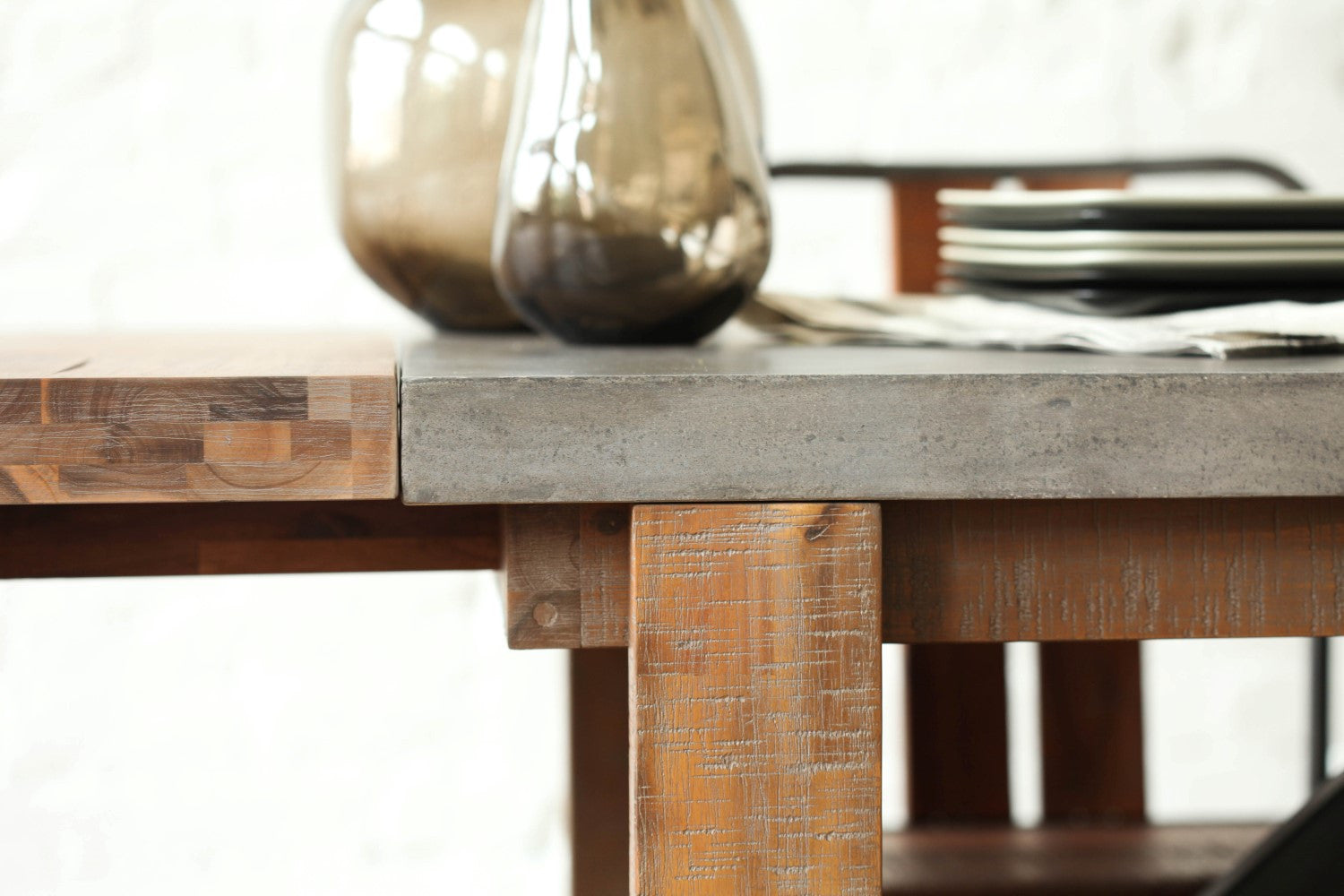 concrete and wood furniture. Vega Concrete Dining Table - 59\ And Wood Furniture