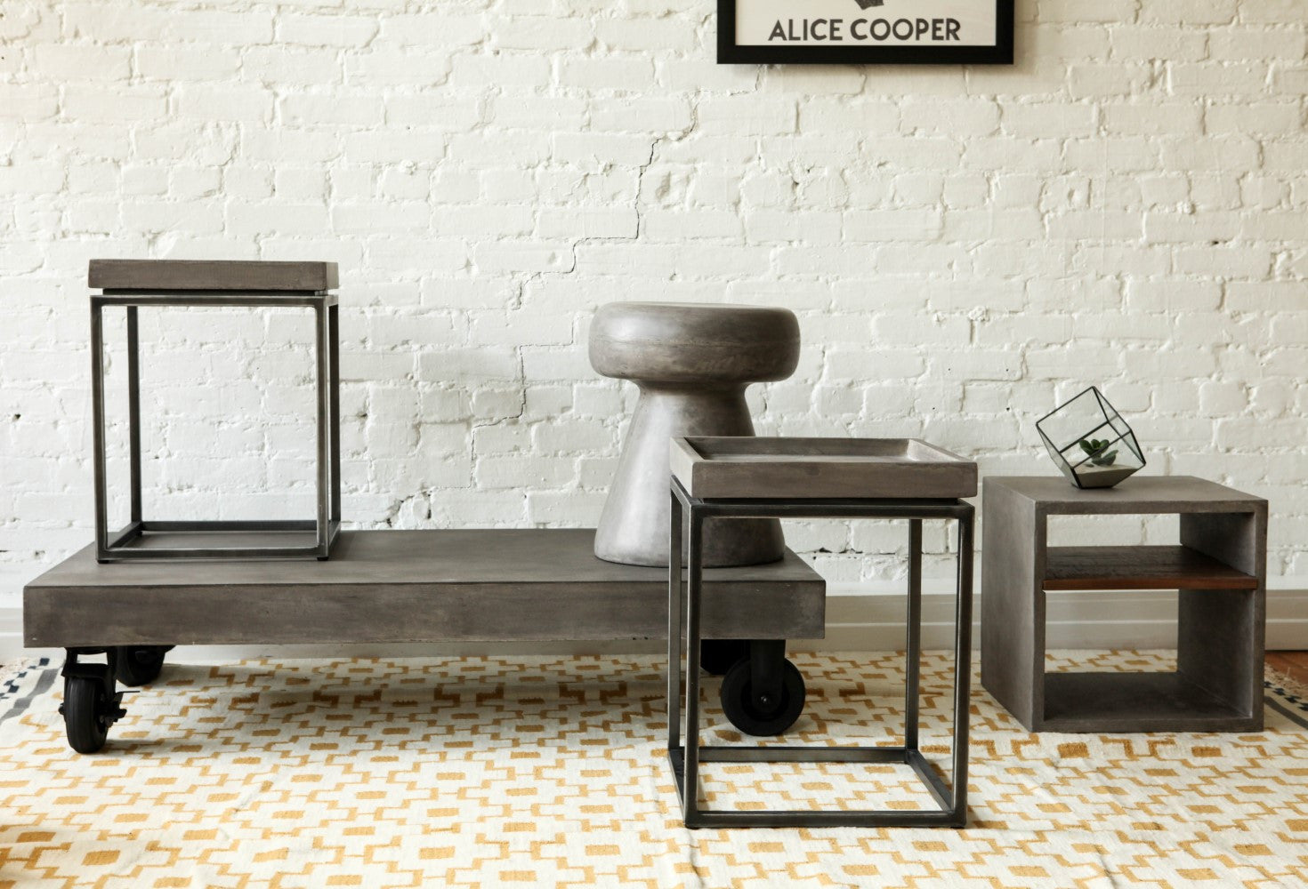 Vega Concrete Coffee Table On Wheels   Tables   Furniture Maison.