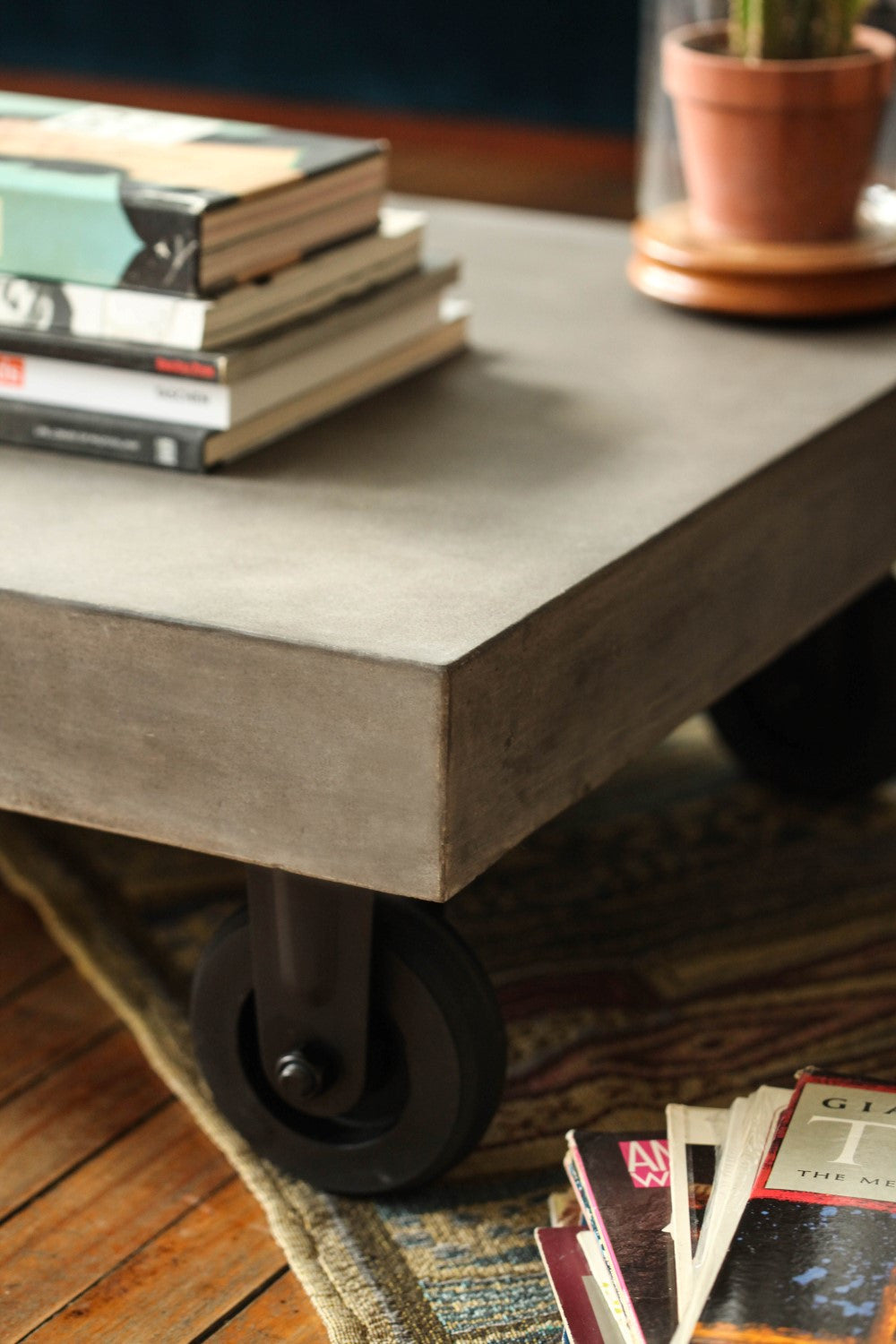 3 · Vega Concrete Coffee Table On Wheels   Tables   Furniture Maison.