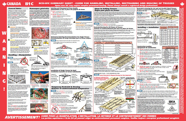 "Canadian B1 Summary Sheet Flat 11"" x 17"" - Guide for Handling, Installing, Restraining & Bracing Trusses (250 sheets)"